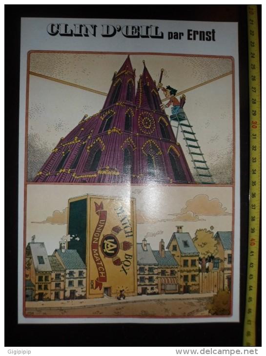 DESSIN HUMORISTIQUE ALLUMETTES MATCHBOX NOTRE DAME DE PARIS - Vieux Papiers