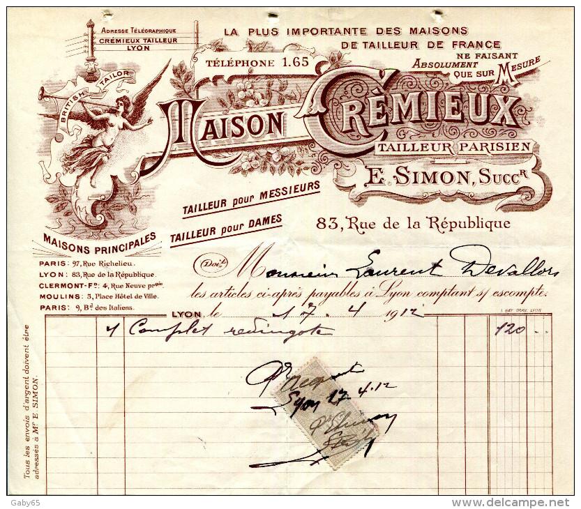 LA PLUS IMPORTANTE DES MAISONS DE TAILLEUR.MAISON CREMIEUX TAILLEUR PARISIEN 83 RUE DE LA REPUBLIQUE.LYON. - Textile & Vestimentaire