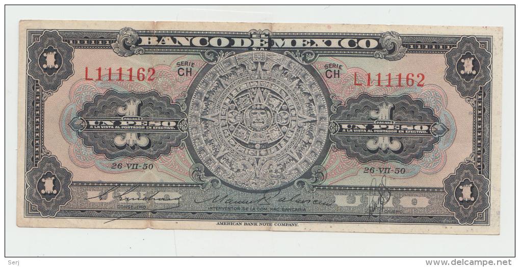Mexico 1 Peso 1950 VF+ Pick 46b  46 B  SERIE CH - Messico