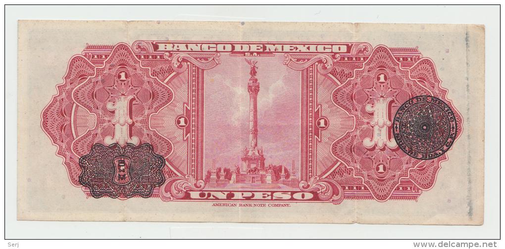 Mexico 1 Peso 1950 VF+ Pick 46b  46 B  SERIE CH - Mexico