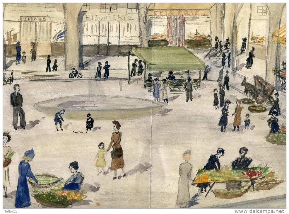 Petite Aquarelle Non Signée Non Datée -représentant La Place De Limoux, Ses Arcades Ses Commerces - Aude - Autres Collections