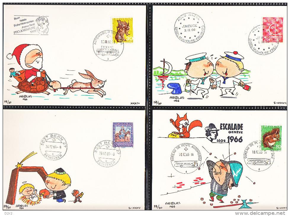 """36 CARTES TIMBREES,DESSINEE PAR """"SANTIAGO AROLAS"""" ANNEE1966-67 - Illustrateurs & Photographes"""