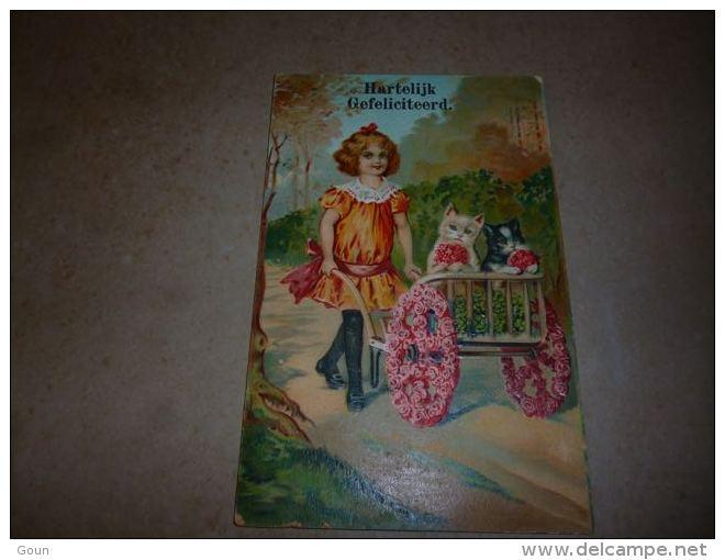 LC100 BC9-2-55 Fantaisie Carte Postale Jeune Fille Avec Chat  Chaton Dans Une Brouette Et Fleurs - Voyagée Année ? - Katten
