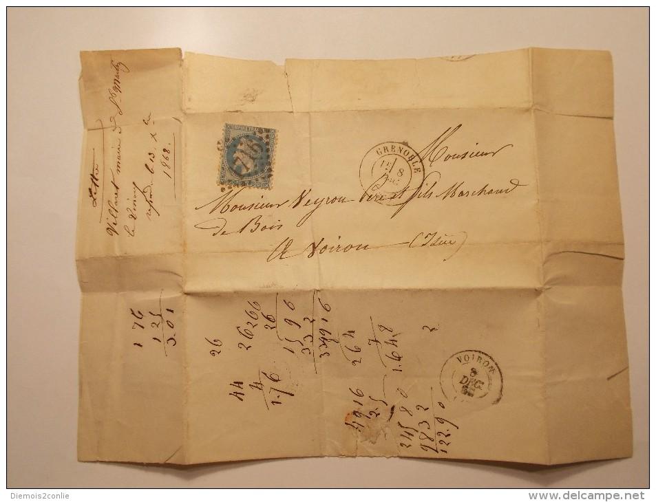 Marcophilie - N° 29A Dentelé 3 Côtés Sur Lettre Enveloppe Du 08/12/1868 (13/15) - 1849-1876: Période Classique