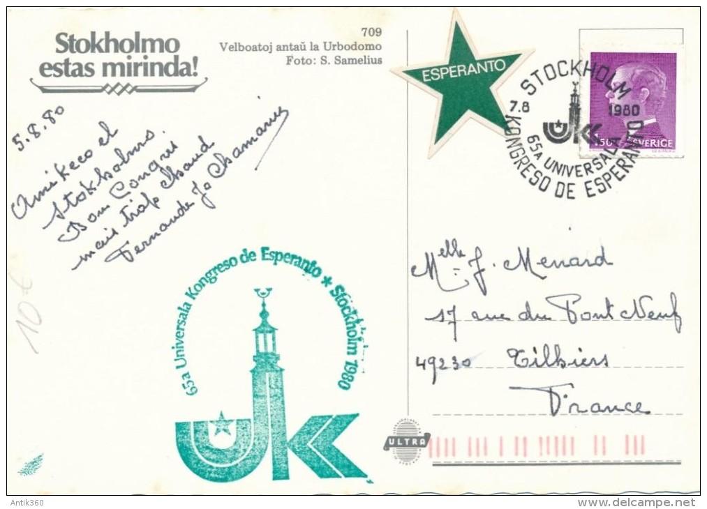 CPSM ESPERANTO Stokholmo 65a Universala Kongreso 1980 + Cachet + Timbres - Esperanto