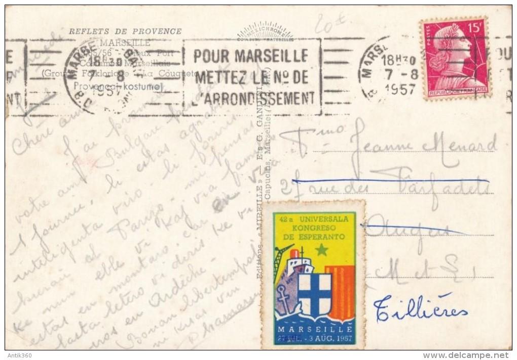 CPSM ESPERANTO Marseille 42a Universala Kongreso 1957 +  Timbres - Esperanto