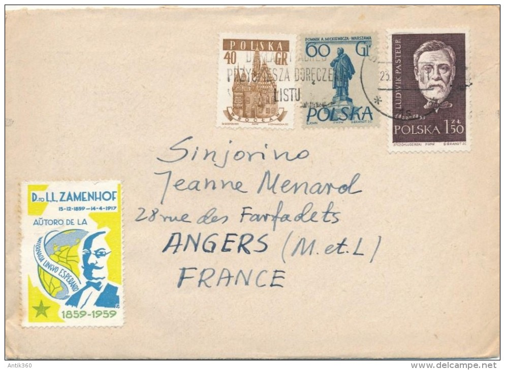 ESPERANTO Enveloppe + Lettre + Timbre Zamenhof - 1960 - Esperanto