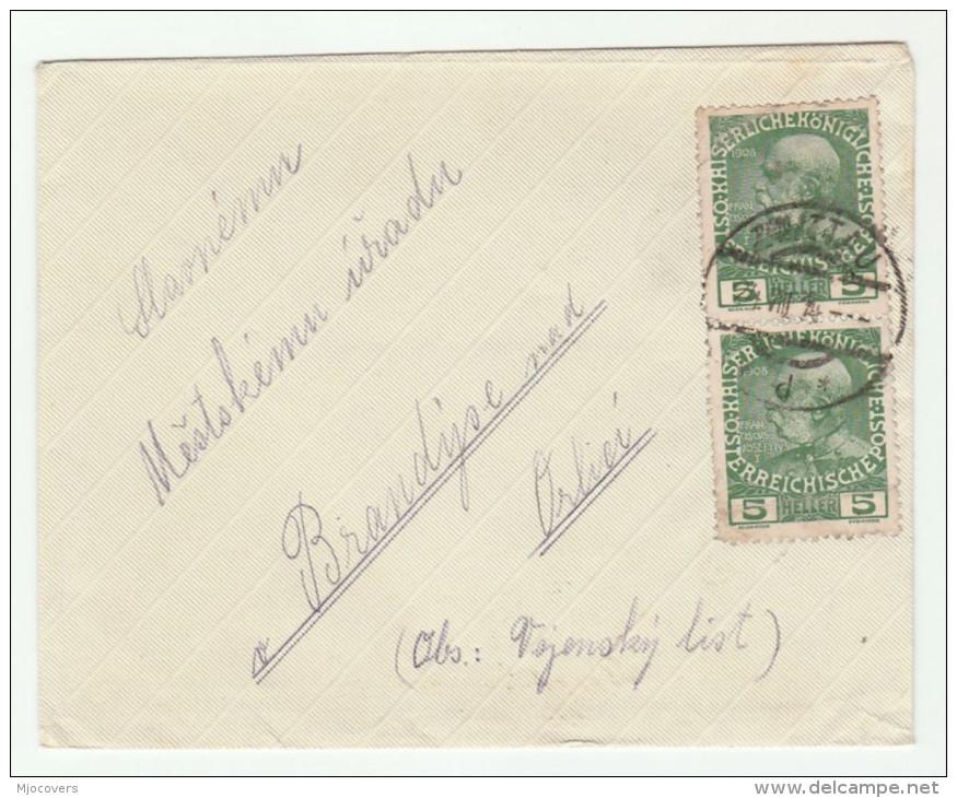 1914 Svitavy Zwittau AUSTRIA (czech) COVER 2x 5h Stamps Czechoslovakia - Covers & Documents