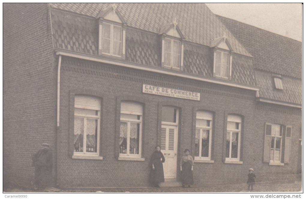 Postkaart Vermoedelijk Geluwe ( Wervik)         Café De Commerce    Rene Verschaeve Vandenberghe    Scan 1 - Wervik