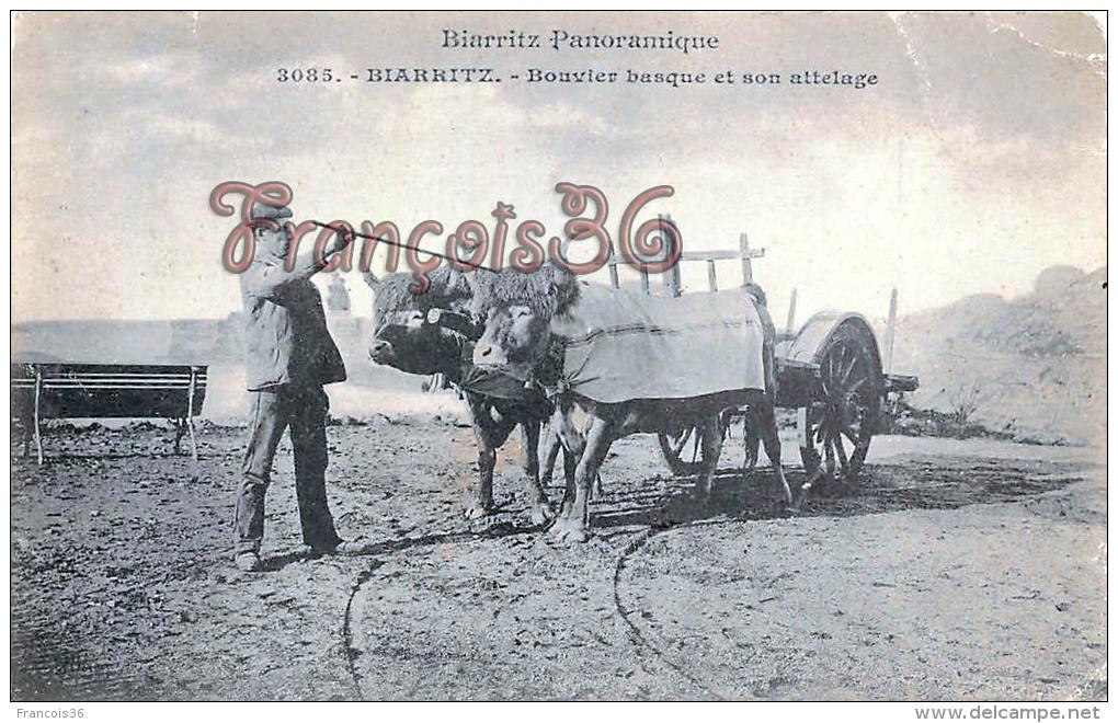 (64) Biarritz - Bouvier Basque Et Son Attelage - En état : Pliures - 2 SCANS - Biarritz