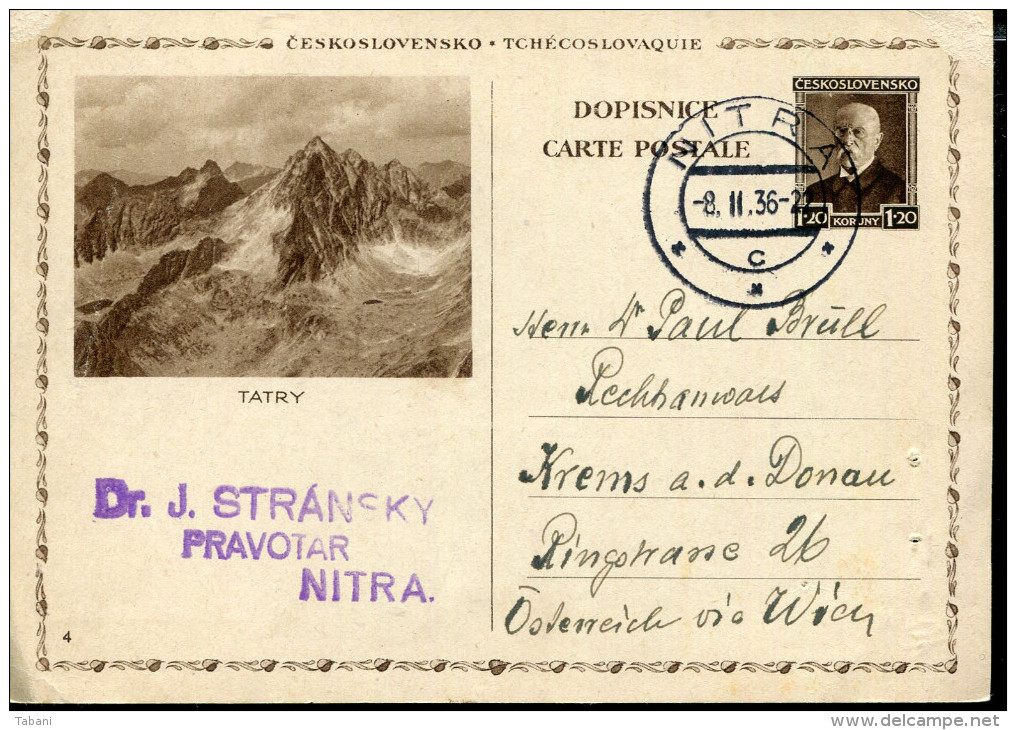 CZECHOSLOVAKIA 1936 ILLUSTRATED POSTAL STATIONARY CARD ....TATRY - Tschechoslowakei/CSSR
