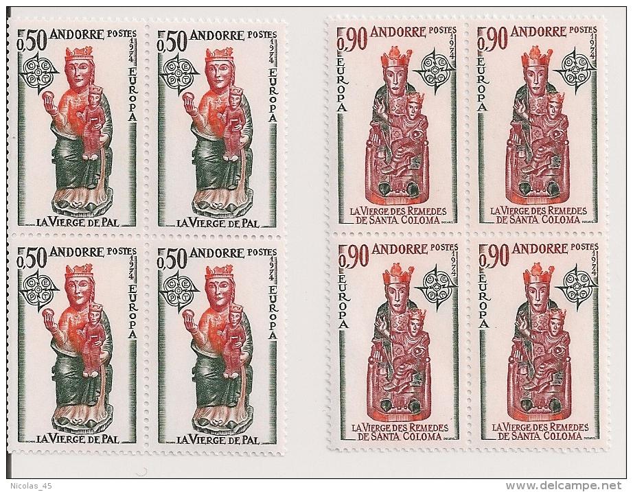 Andorre Français - Europa 1974 - Vierge De Pal - Vierge Des Remèdes De Santa-Coloma - YT 237 238 - Blocs De 4 ** - Luxe - Nuevos
