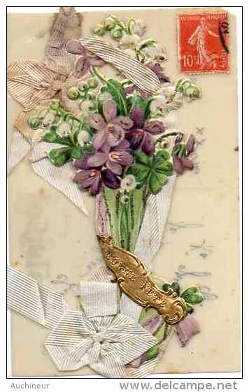 Bonne Fête - Ajouti Ruban Et Chromo Fleurs Muguet Violette Sur Celluloïde - Postcards