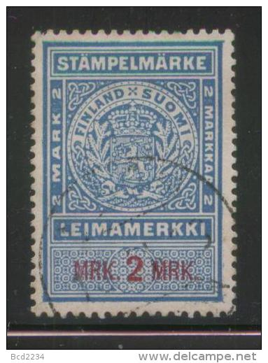 FINLAND 1895 STAMPELMARKE DOCUMENTARY REVENUE 2M BLUE & RED PERF 13 X 13.5 BF#125 - Fiscale Zegels