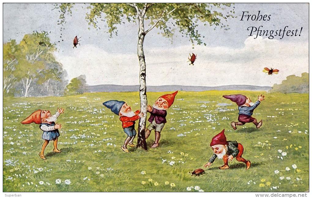 GNOME / ELF / LUTIN Et COLÉOPTÈRE - ELF And BEETLE : FROHES PFINGSTFEST - CARTE POSTALE VOYAGÉE ~ 1930 - 1935 (r-327) - Fêtes - Voeux