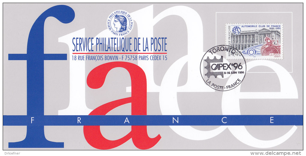 FRANKREICH 3116 Auf Ausstellungskarte Des Service Philatelique De La Poste Zur CAPEX '96 Toronto, ACF - Documents Of Postal Services