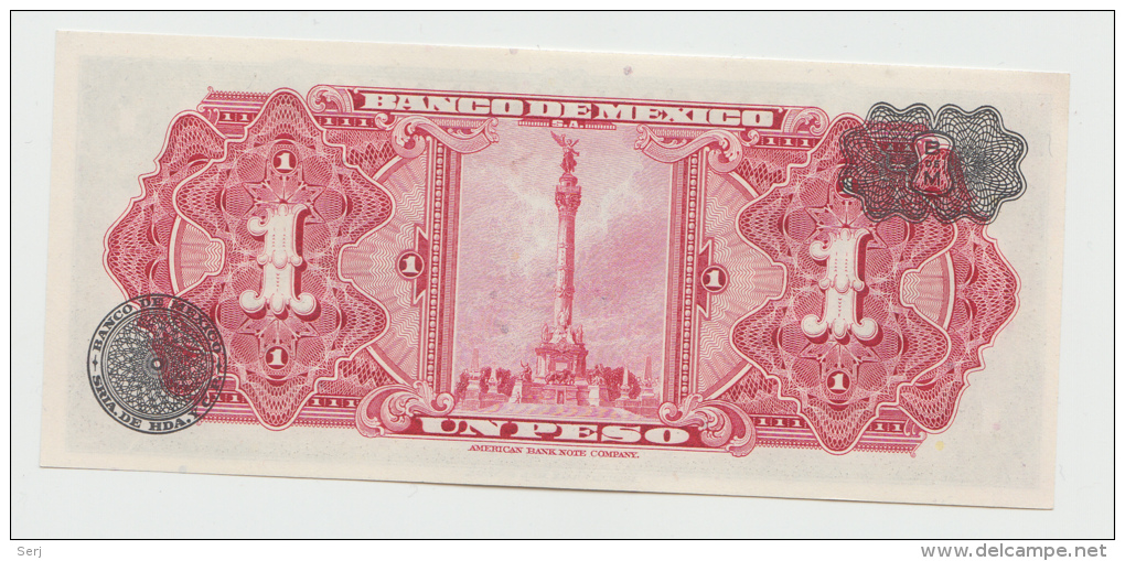 Mexico 1 Peso 1954 UNC NEUF Pick 56a  56 A Series EF - Mexico