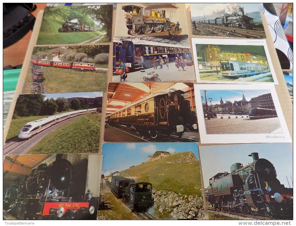 Lot De 40 Cartes Postales De Trains - Train Gare - Chemins De Fer