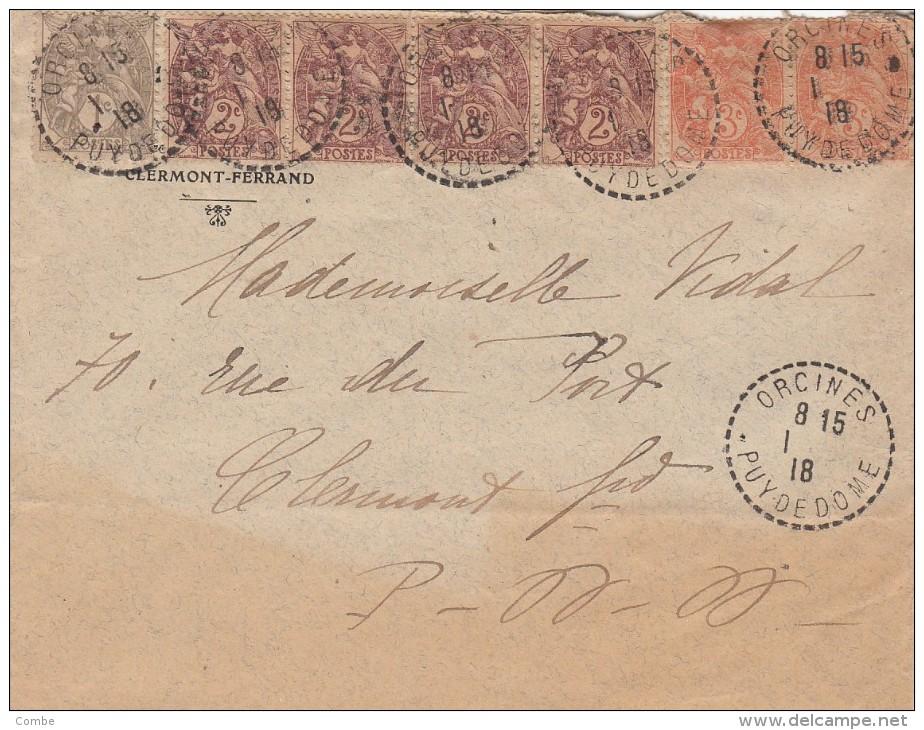 1918. BELLE LETTRE AVEC 7 TIMBRES BLANC. T B4. ORCINES PUY DE DOME/ 5865 - Covers & Documents