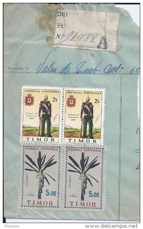Uniforms Of The Infantryman. Indigenous Art. Sculpture. Timor. Registered Letter Fragment In Dili 1962. 2 Scans. - Timor Oriental