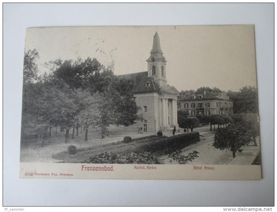 AK 1906 Österreich / Tschechien / Sudeten. Franzensbad. Kathol. Kirche. Hotel Kreuz. 370a Hermann Poy, Dresden - Sudeten