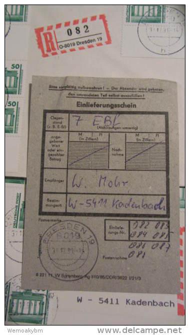 """7 Einschreibbriefe  V. 31.12.91 BM Aus Bogen Mit Zwfelder, Seltene ES-Marke Mit """"O""""-8019  Letzt. Tag Gültigkeit  DP - Storia Postale"""