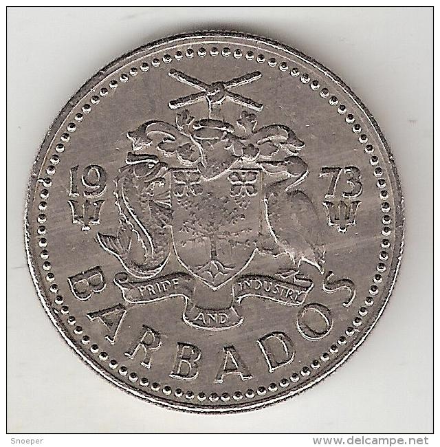 Barbados 25 Cents 1973  Km 13  Vf+ - Barbades