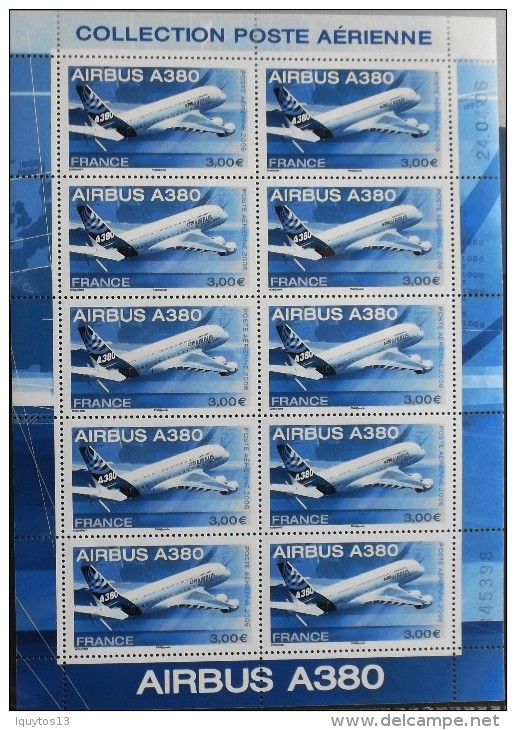 FRANCE 2006 - POSTE  AERIENNE - FEUILLE Marges Illustrées N° F69 - AIRBUS A 380 - 10 Timbres NEUFS** Y&T : 65,00€ - Poste Aérienne