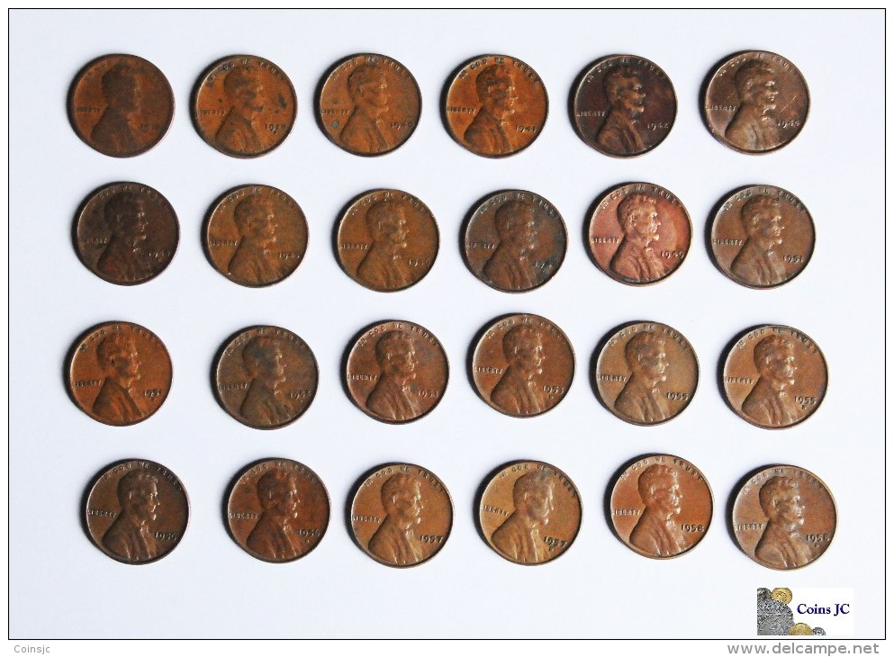 US - Lote De 24 One Cents - Varias Fechas - United States