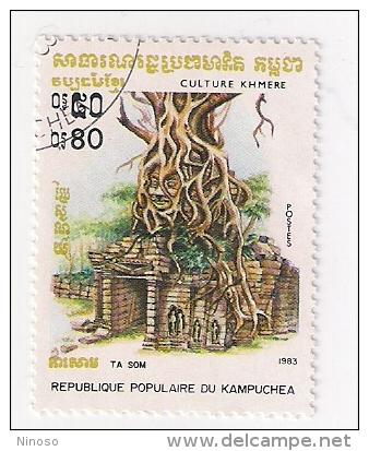 REPUBBLICA KAMPUCHEA 1983 CULTURE KMERE USATO - Kampuchea