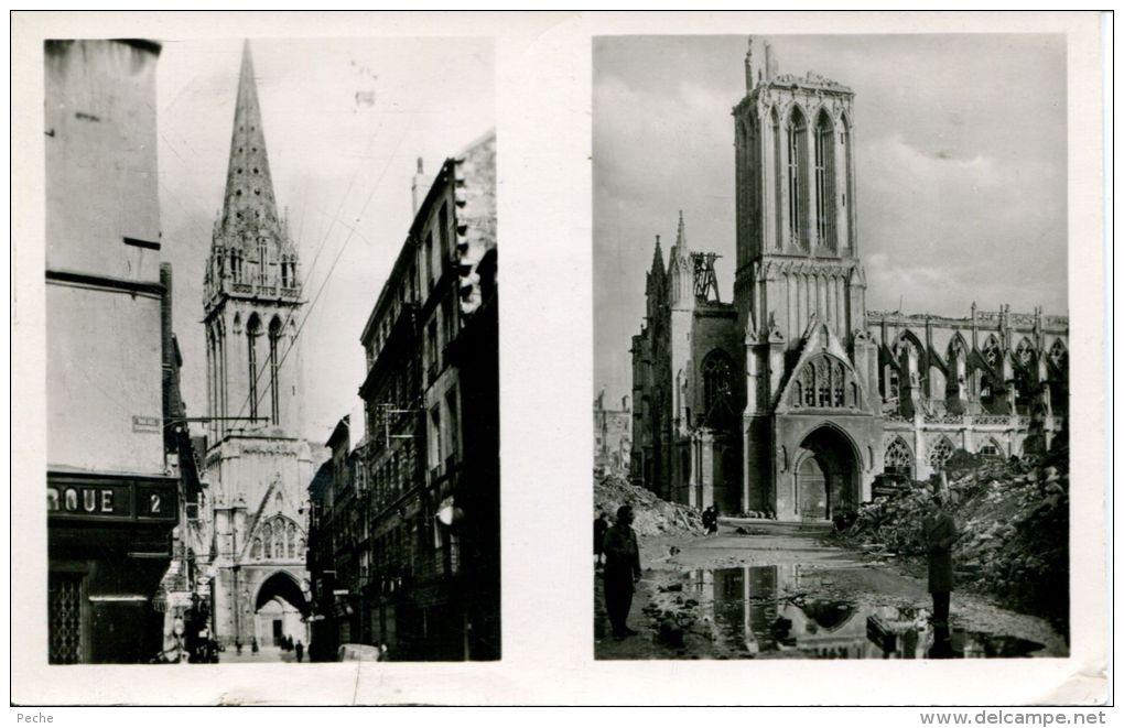 N°2602A -cpsm  Caen -rue Et église St Pierre Avant Leur Destruction- - Caen