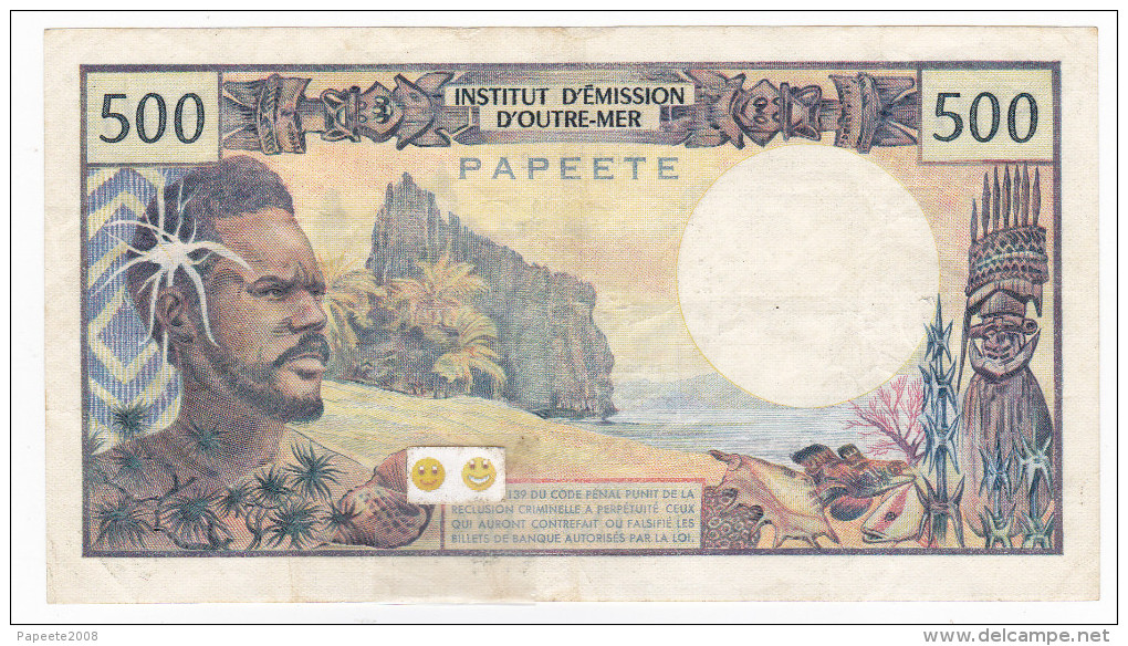 """Polynésie Française - 500 FCFP - Mention """"PAPEETE"""" Au Verso - D.1 / Postel-Vinay - Clappier - Papeete (Polynésie Française 1914-1985)"""