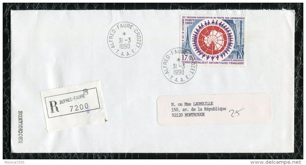 "FRANCE ( TAAF ) : TRES  BEL  AFFRANCHISSEMENT  AVEC  CAD "" ALFRED-FAURE-CROZET ""  DU 31 MARS 1990 , A VOIR . - Tierras Australes Y Antárticas Francesas (TAAF)"