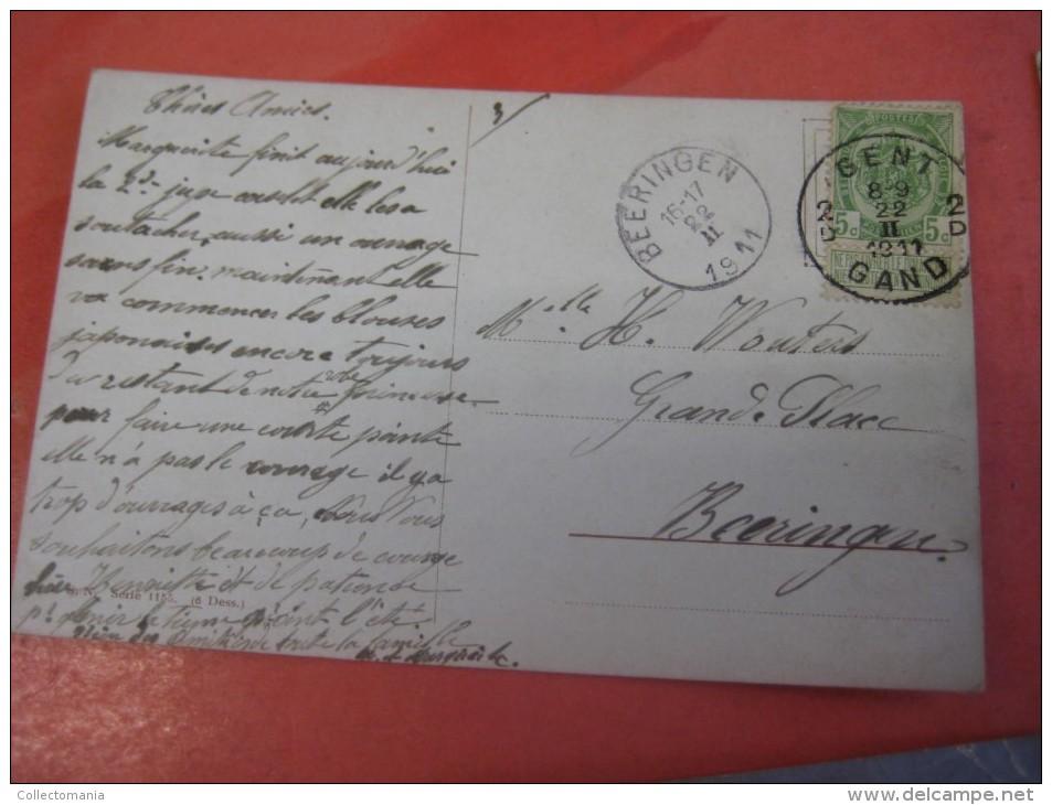 6 Cards Complete Set Anno 1911 VG  Arthur Thiele, Poststamped Postcards, Comic Pool Biliard Billiards Biljart Game Poole - Humour