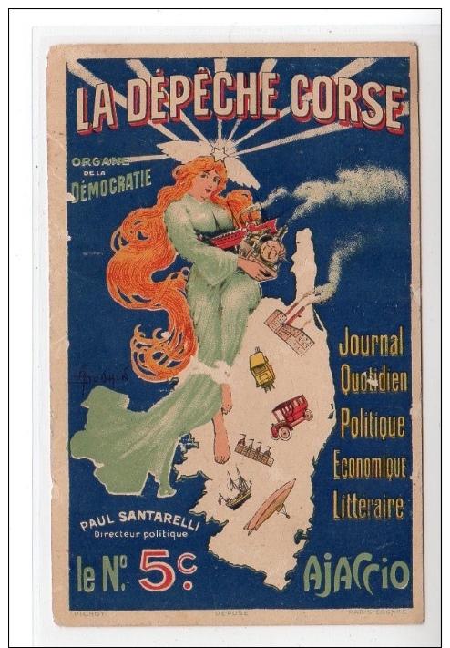 """AJACCIO : Carte Postale Publicitaire Pour La """"dépêche Corse"""" (journal De Paul Santarelli) Illustrée Par DOUHIN - état (é - Ajaccio"""
