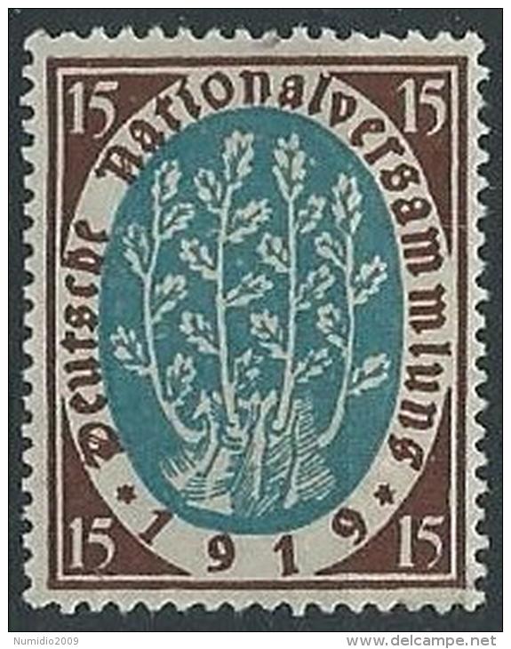 1919-20 GERMANIA WEIMAR ASSEMBLEA COSTITUENTE 15 P MH * - G11 - Ungebraucht