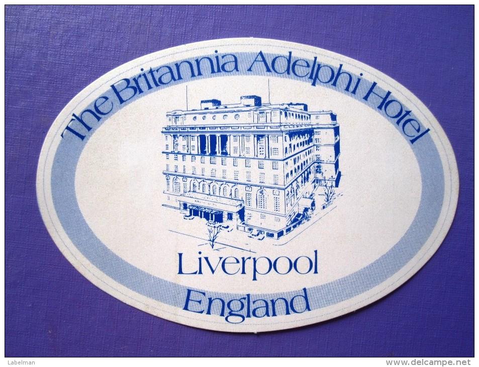 HOTEL PENSION MOTEL MOTOR BRITANNIA LIVERPOOL UK ENGLAND GREAT BRITAIN STICKER DECAL LUGGAGE LABEL ETIQUETTE AUFKLEBER - Hotel Labels