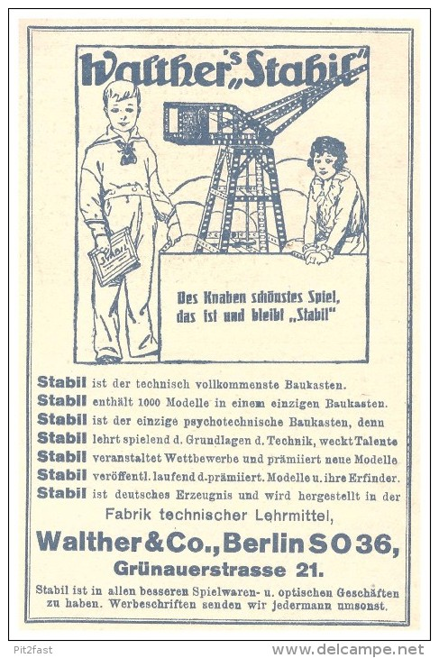 Original Werbung - 1925 - Walther Stabil Baukasten , Walther & Co In Berlin , Spielzeug !!! - Other