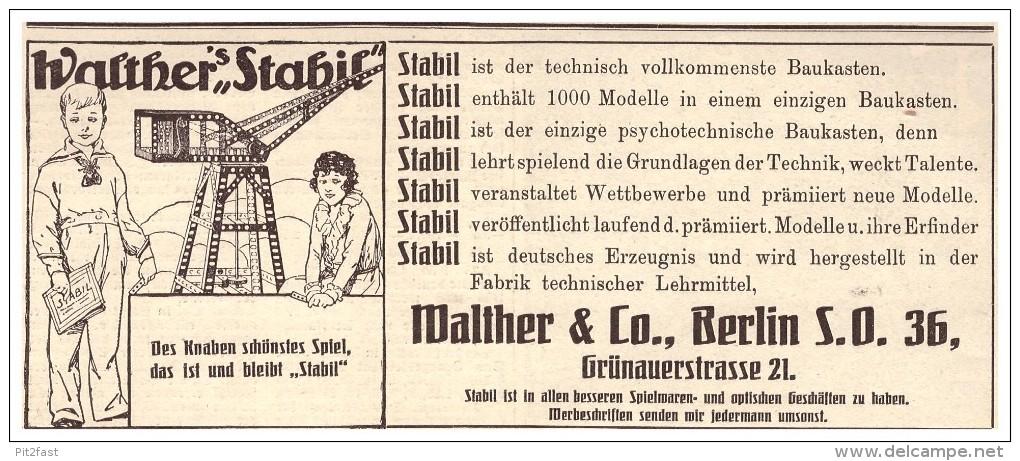 Original Werbung - 1925 - Walther Stabil Baukasten , Walther & Co In Berlin , Spielzeug !!! - Sonstige
