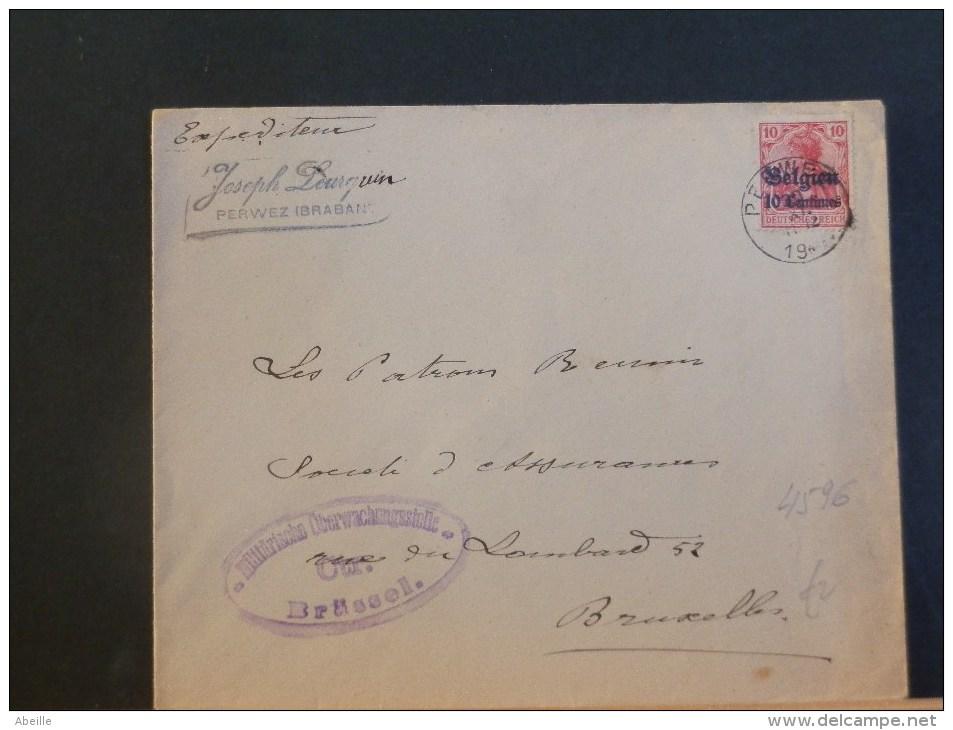 B/4596   LETTRE  DE PERWEZ  CENSURE  BRUSSEL - WW I