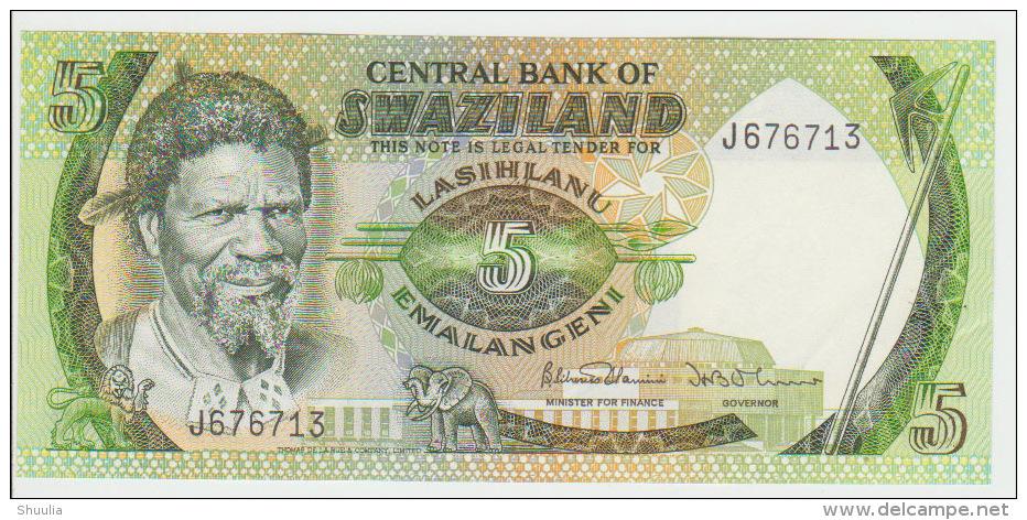 Swaziland 5 Lilangeni 1984 Pick 9b UNC - Swaziland