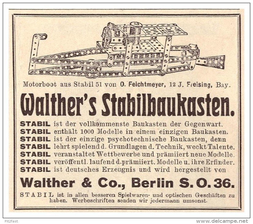Original Werbung - 1925 - Walther Stabil Baukasten , Walther & Co In Berlin , Spielzeug !!! - Other Collections