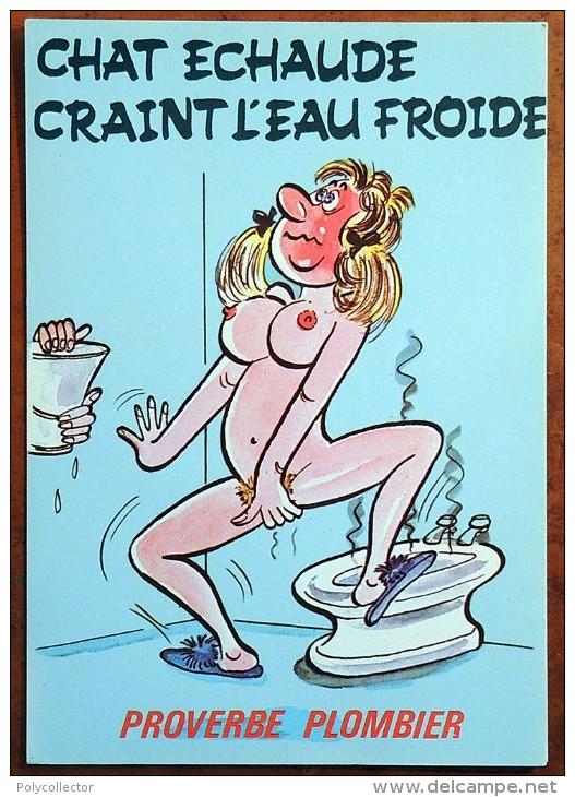 CP - Série Proverbe - Proverbe Plombier - 873/2 - Chat échaudé Craint L'eau Froide - Humour