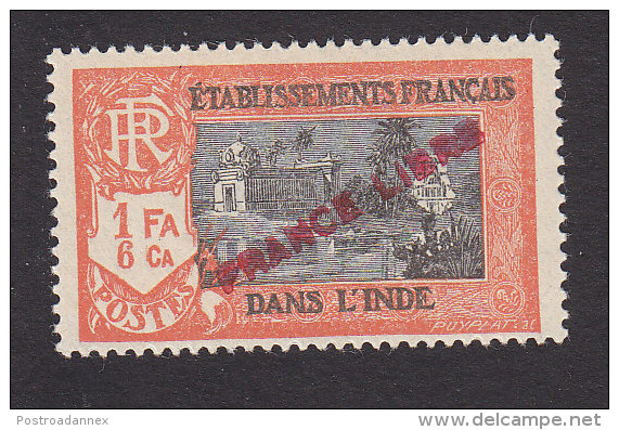 French India, Scott #126, Mint Hinged, Kali Temple Overprinted, Issued 1941 - India (1892-1954)