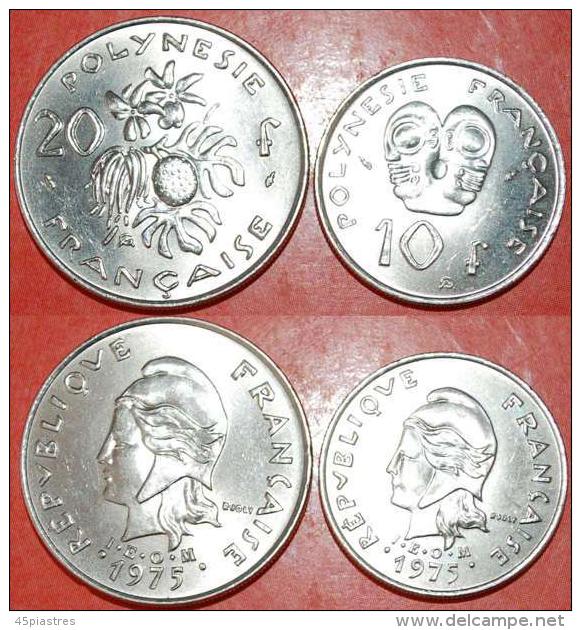 ★1975★FRENCH POLYNESIA ★10-20 FRANCS  SET OF 2 COINS! LOW START★NO RESERVE! - Polynésie Française