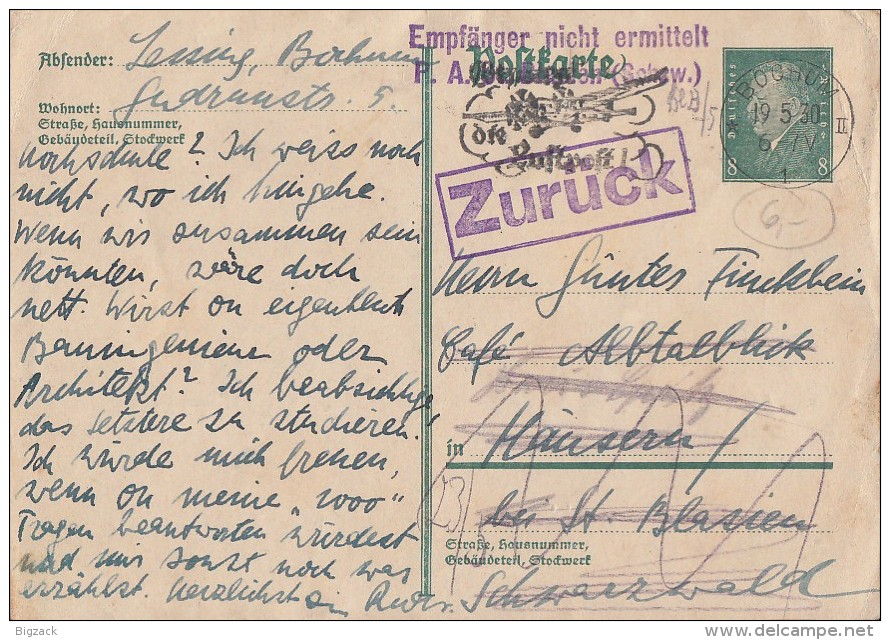 DR Ganzsache Bochum 19.5.30 Irrläufer Ansehen !!!!!!!!!!! - Briefe U. Dokumente