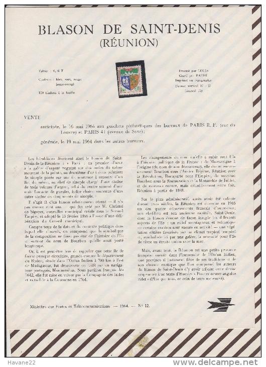349 Document Poste Telecommucation 1964 N°12 Timbre Oblitéré  BLASON De SAINT DENIS REUNION - Documents De La Poste