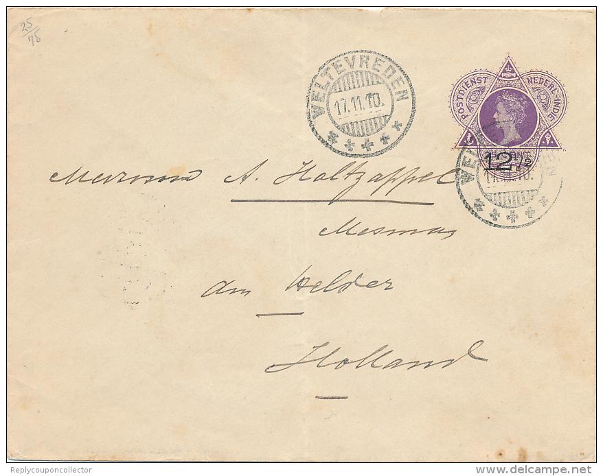 WELTEVREDEN - 1910 ,   12½  Auf  25  ,   Umschlag Nach DEN HELDER - Niederländisch-Indien