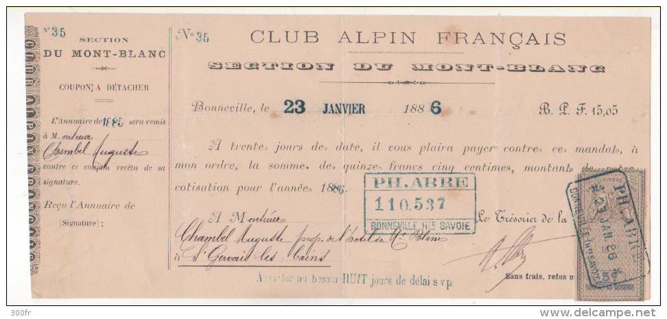 France - 1886 Lettre Change Entete CLUB ALPIN Français Section Mont Blanc Timbre Fiscal 5c - France