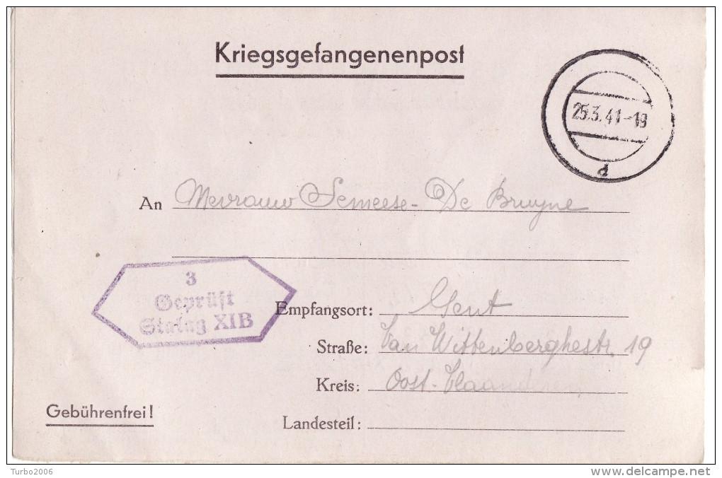 """25-3-1941 Kriegsgefangenenpost Von STALAG XI B Geprüft : """"STALAG XI B 3"""" Nach Gent - Documenten"""